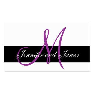 Cartão roxo da recepção de casamento do monograma  cartão de visita