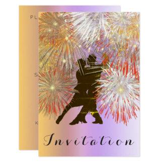 Cartão Roxo de Ombre do ouro do dance party do carnaval
