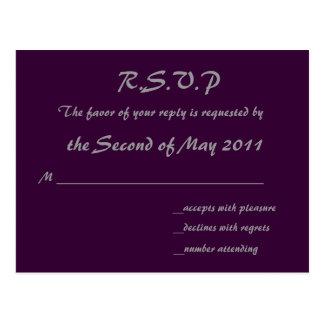 Cartão roxo de RSVP Cartão Postal