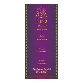 """Cartão roxo do menu do casamento indiano elegante convite 10.16"""" x 23.49cm"""