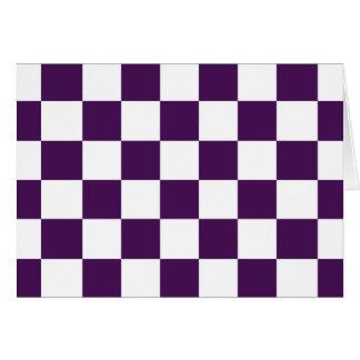 Cartão Roxo e branco Checkered