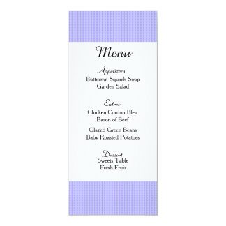 """Cartão roxo macio do menu do casamento convite 10.16"""" x 23.49cm"""