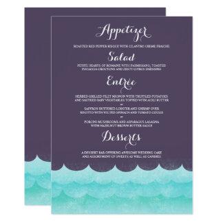 Cartão Roxo no menu náutico do casamento do mar