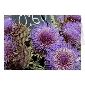 Cartão Roxos franceses do mercado da flor
