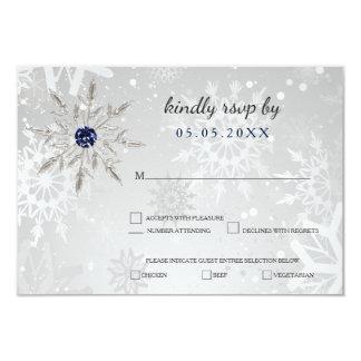 Cartão rsvp de prata do casamento no inverno dos flocos