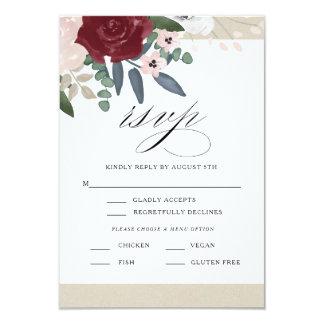 Cartão RSVP floral romântico com menu