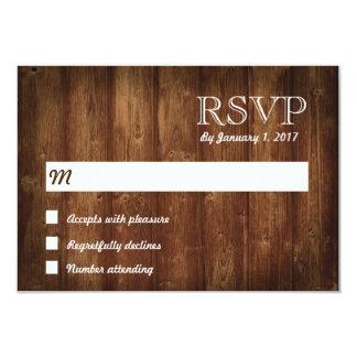 Cartão rústico da madeira RSVP Convite 8.89 X 12.7cm