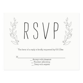 Cartão rústicos do rsvp do casamento da grinalda cartão postal