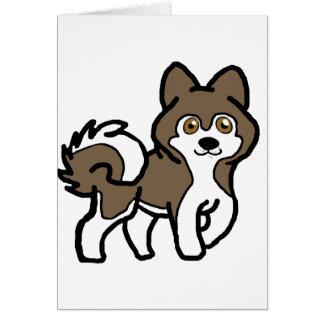 Cartão sable do malamute do Alasca e desenhos animados do