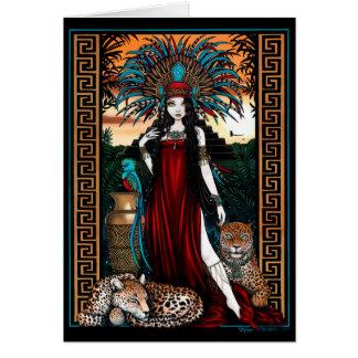 Cartão Sacerdotisa Zyanya Mesoamerica do quetzal de