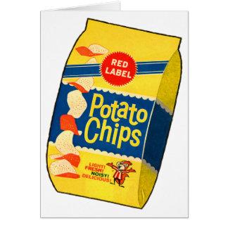 Cartão Saco retro das microplaquetas de batata das