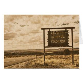 Cartão saindo de Colorado colorido
