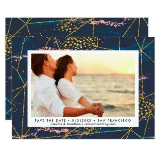 Cartão Salvar o ouro chique geométrico moderno da foto da