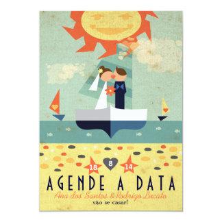 Cartão Salvar Veleiro Wedding Vintage Agende a Data