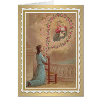 Cartão santamente católico do cumprimento/nota