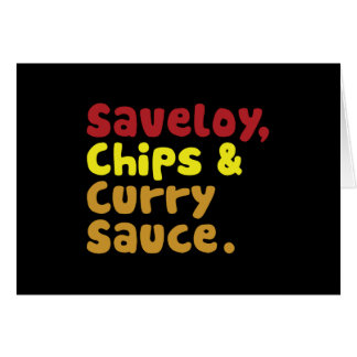 Cartão Saveloy, microplaquetas & Sauce. de caril