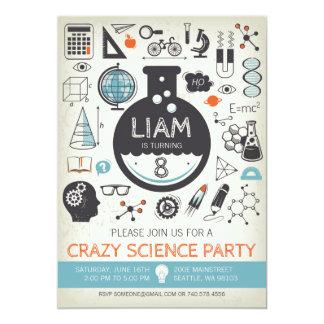 Cartão Science Birthday Invitation - Mad Scientist Party