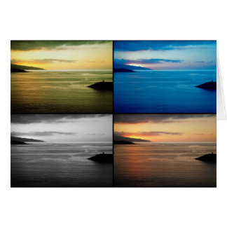 Cartão Seascape de Quadriptych no por do sol