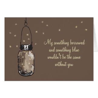 Cartão Seja meu Bridesmad - frasco & vaga-lume de