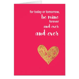 Cartão Seja meu para sempre coração cor-de-rosa do dia