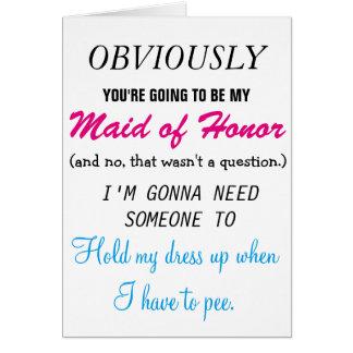 Cartão Seja minha madrinha de casamento