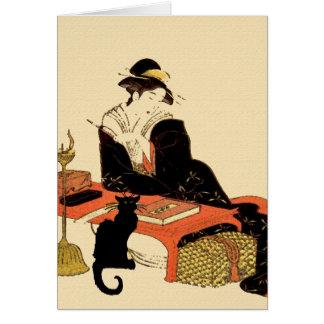Cartão Senhora japonesa do gato preto