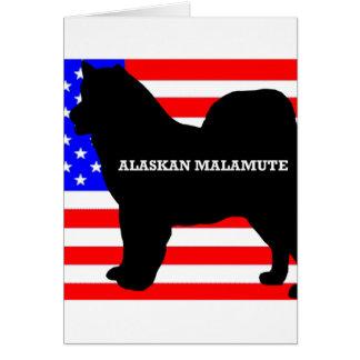 Cartão silo do nome do malamute do Alasca na bandeira