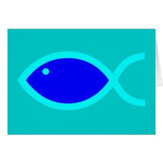 Cartão Símbolo cristão dos peixes - RUIDOSAMENTE! Azul e