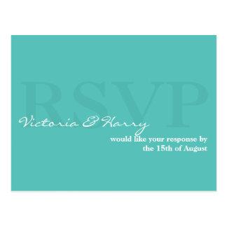 Cartão simples da resposta do casamento do azul de cartão postal
