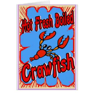 Cartão Sinal fervido fresco quente dos lagostins