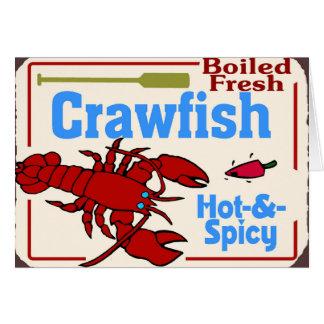 Cartão Sinal fervido quente dos lagostins