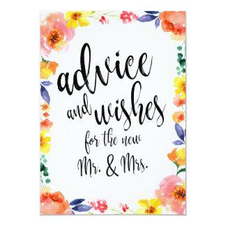 Cartão Sinal floral disponível do casamento do conselho e