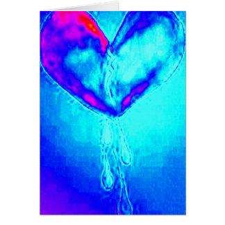 Cartão Sobrevivente azul do coração quebrado