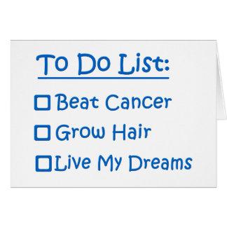 Cartão Sobrevivente de câncer para fazer a lista