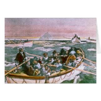 Cartão Sobreviventes titânicos do RMS na manhã seguinte