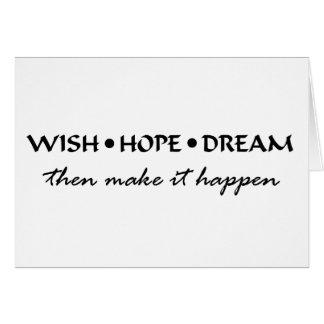 Cartão sonho da esperança do desejo