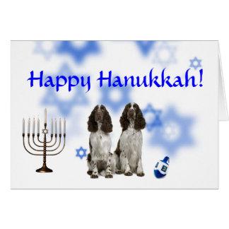 Cartão Spaniel feliz de Hanukkah Springer inglês