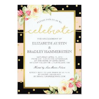 Cartão Sparkling listra a festa de noivado floral de |