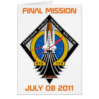 Cartão STS-135 remendo, missão final, o 8 de julho de