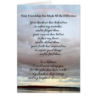 Cartão Sua amizade…