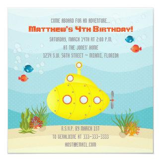 Cartão Submarino do amarelo do mar profundo