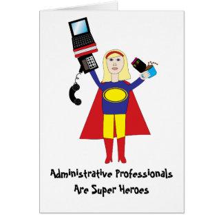 Cartão Super-herói profissional administrativo (louro) Ca