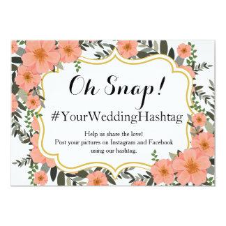 Cartão Suporte dourado que Wedding Hashtag