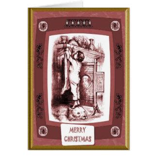 Cartão Suspensão acima da meia do Natal