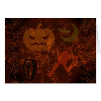 Cartão Sustos do Dia das Bruxas no fundo delével