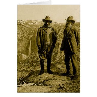 Cartão Teddy Roosevelt e John Muir no ponto da geleira