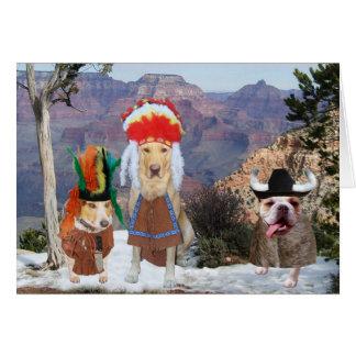 Cartão Tema engraçado customizável do nativo americano