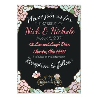 Cartão Tema Wedding customizável da bicicleta de