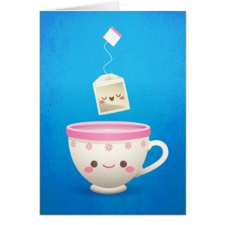 Cartão Tempo do chá de Kawaii