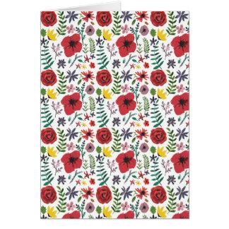 Cartão Teste padrão floral do Watercolour